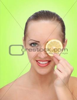 beautiful woman with lemon
