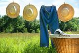 Blue jeans and straw hats on clothesline