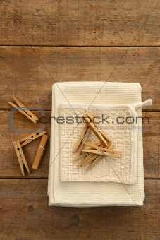 Cotton dish towel with clothes pins