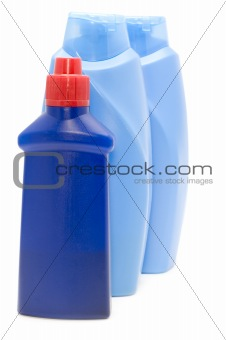 Three Blue bottle macro