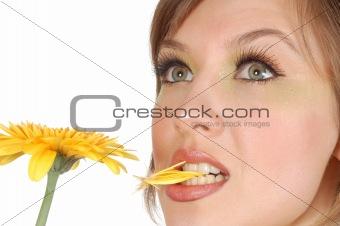 beauty thoughtful girl bite of petal yellow herbera