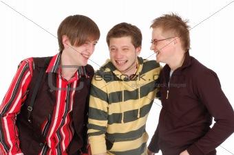 happy three friends laugh