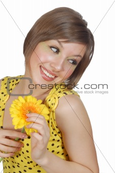 atrractive girl with yellow flower