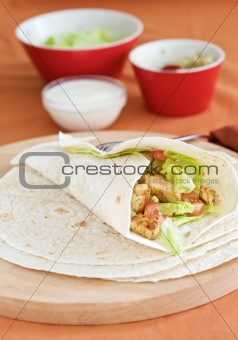 Mexican wrap with guacamole