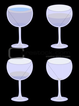 Four Vector Water Glasses on Black