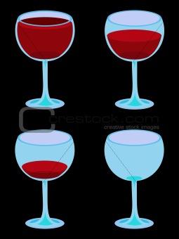 Four Vector Wineglasses on Black