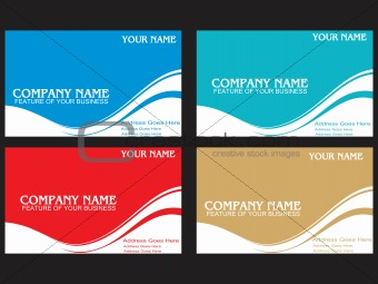 business card with wave elements background