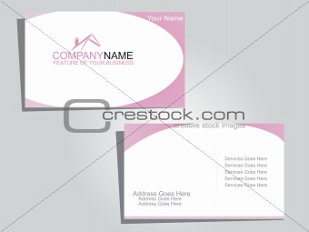 corporate business tag in white and pink