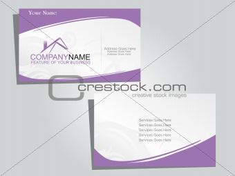corporate identity business card in white and purple