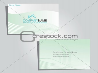 corporate identity business card with green waves