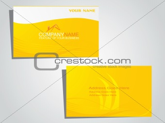 corporate identity business card with yellow waves