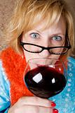 Crazy Woman Drinking Wine