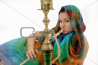 woman smoking water pipe