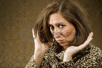 Hispanic Woman Adjusts her Hair