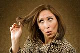 Hispanic Woman Twists her Hair