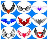 Nine Brand New Hearts on the Wings. Vector Illustration
