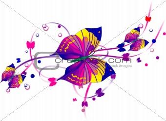 Three Purple Butterflies and Purple Scrolls