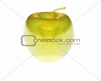 3D bright golden apple