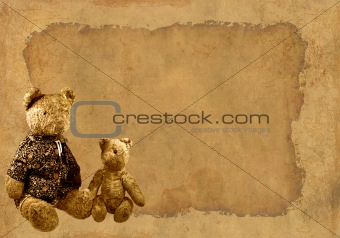 Grunge background with retro toy bears