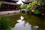 Red Lanterns Pond Reflection Wuhou Three Kingdoms Chengdu Sichua
