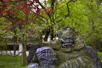 Old Zhang Fei Statue Peach Blossoms Wuhou Three Kingdoms Temple
