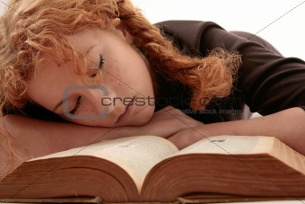 sleeping on book