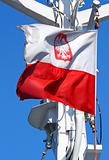 Polish flag flapping in the wind