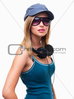 Closeup of a teen girl with headphones