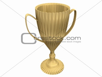 3D Golden trophy isolated