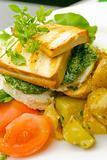 Grilled tofu on pesto