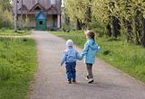 Children in town park