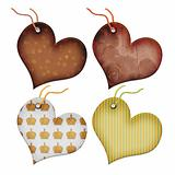 Retro Gift tags in the form of heart.