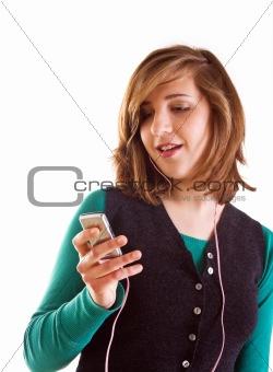 Blond teenager girl listening music
