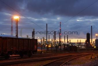 Oil refinery in twilight