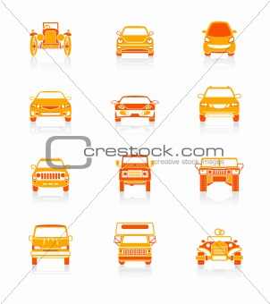 Cars front view icons | JUICY series