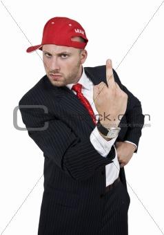 businessman showing finger
