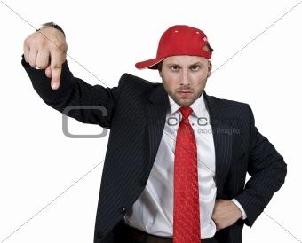 man indicating