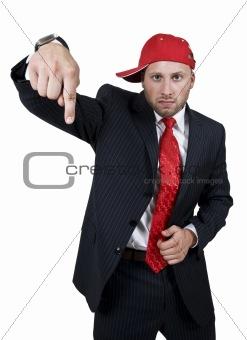 man ndicating lower