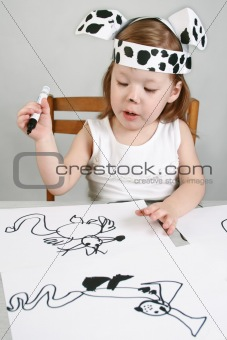 Small girl with dalmatian mask