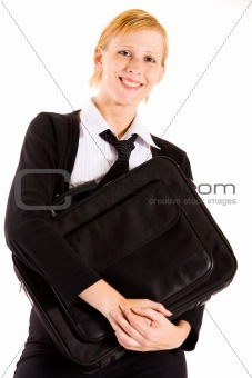 Business woman with laptop bag.