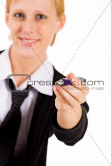 Business woman wants to write it