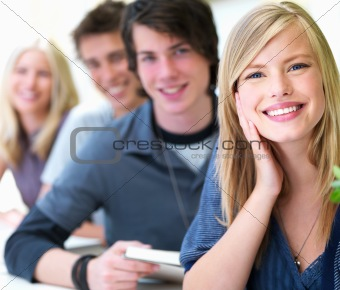 Portrait of a young guys and girls smiling