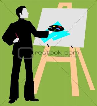 artist near a drawing board