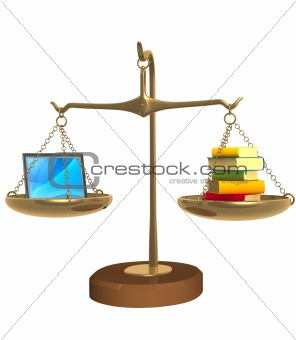 3d books and laptop on bowls scales