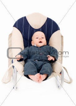 Little businessman in a chair
