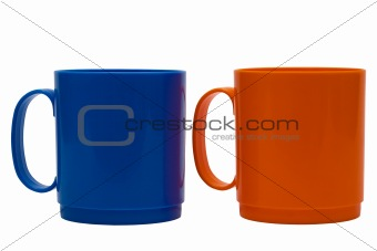 blue and orange mug