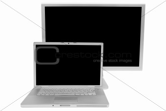 Modern laptop and the display