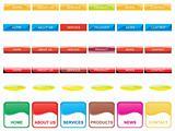 web 2.0 style menu button series set 8