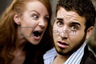 Woman Yells at Man