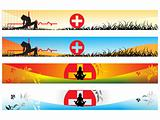 vector web 2.0 banner with medical caduceus sign set 2